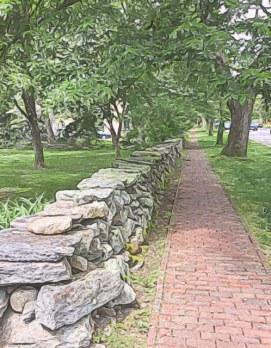 Brick sidewalk in Kingston Village