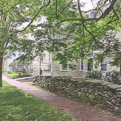 Stone Wall outside the Tavern Hall Club