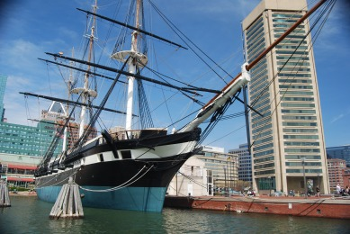 USS Constellation docked in Baltimore Harbor