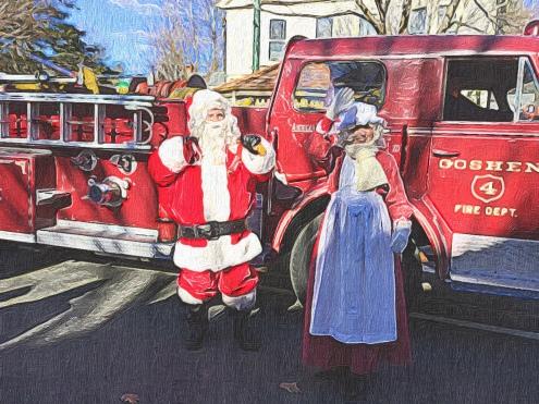 Mr and Mrs Santa Arrive on Main Street