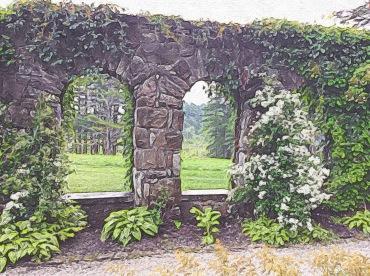 Vista through Windows in Italian Garden